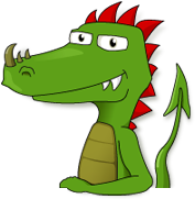 A cartoon of our mascot, Snappy the Dragon